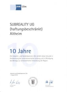 Subreality UG - Mitglied der IHK Ulm